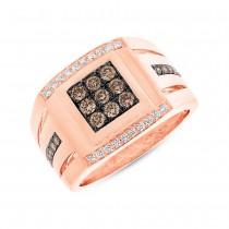 0.82ct 14k Rose Gold Champagne Diamond Men's Ring
