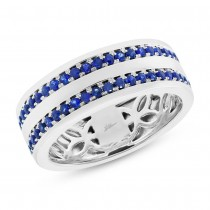 1.05ct 14k White Gold Blue Sapphire Men's Band Size 7.25