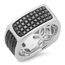 1.62ct 14k White Gold Black Damond Men's Ring Size 11