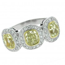 1.70ct-ctrs(cushion) 0.50ct-side 18k Two-tone Diamond Ring