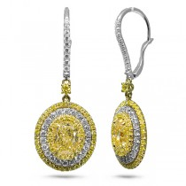 4.33ct Oval Cut Center And 2.05ct Side 18k Two-tone Gold Gia Certified Natural Yellow Diamond Earrings