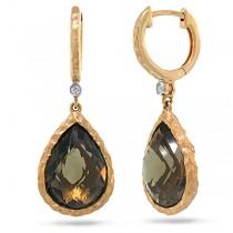 0.02ct Diamond & 8.76ct Smokey Topaz 14k Rose Gold  Earrings