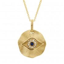 14k Yellow Gold Diamond & Blue Sapphire Eye Pendant Necklace