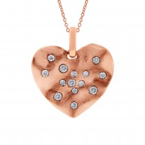0.22ct 14k Rose Gold Diamond Heart Pendant Necklace