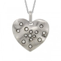 0.22ct 14k White Gold Diamond Heart Pendant Necklace