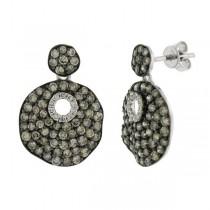 1.84ct 14k White Gold White & Champagne Diamond Earrings