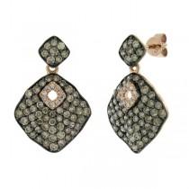 1.81ct 14k Rose Gold White & Champagne Diamond Earrings