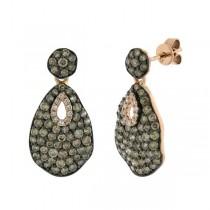 1.80ct 14k Rose Gold White & Champagne Diamond Earrings