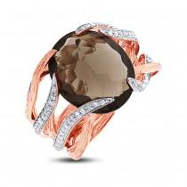 0.50ct Diamond & 12.79ct Smokey Topaz 14k Two-tone Rose Gold Ring Size 8