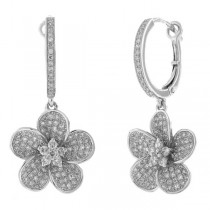 0.85ct 14k White Gold Diamond Flower Earrings
