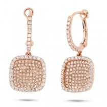 1.00ct 18k Rose Gold Diamond Pave Drop Earrings