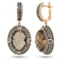 2.62ct White & Champagne Diamond & 14.48ct Smokey Topaz 14k Rose Gold Earrings