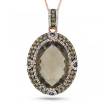 2.14ct White & Champagne Diamond & 13.91ct Smokey Topaz 14k Rose Gold Pendant Necklace