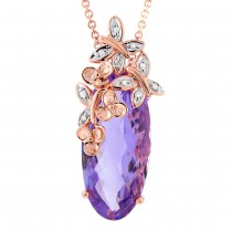 0.04ct Diamond & 10.13ct Amethyst 14k Two-tone Rose Gold Pendant Necklace