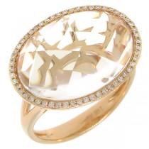 0.17ct Diamond & 9.73ct White Topaz 14k Rose Gold Ring