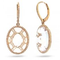 0.38ct Diamond & 13.98ct White Topaz 14k Rose Gold Earrings