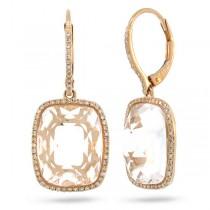 0.37ct Diamond & 12.47ct White Topaz 14k Rose Gold Earrings