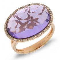 0.17ct Diamond & 10.26ct Amethyst 14k Rose Gold Ring