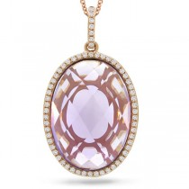 0.19ct Diamond & 10.44ct Amethyst 14k Rose Gold Pendant Necklace
