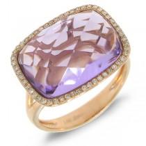 0.17ct Diamond & 8.29ct Amethyst 14k Rose Gold Ring