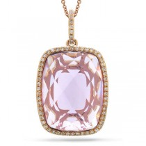 0.19ct Diamond & 8.60ct Amethyst 14k Rose Gold Pendant Necklace