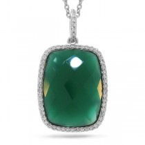 0.19ct Diamond & 8.27ct Green Agate 14k White GoldPendant Necklace
