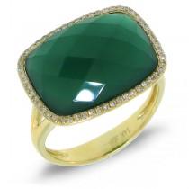 0.17ct Diamond & 8.27ct Green Agate 14k Yellow Gold Ring