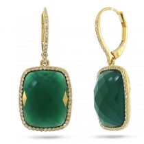 0.37ct Diamond & 12.54ct Green Agate 14k Yellow Gold Earrings