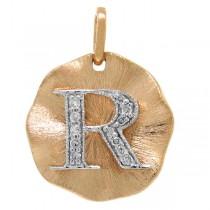 0.06ct 14k Rose Gold Diamond ''r'' Initial Pendant Necklace