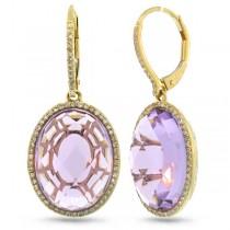 0.38ct Diamond & 15.57ct Amethyst 14k Yellow Gold Earrings