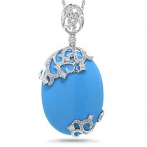0.37ct Diamond & 14.40ct Composite Turquoise 14k White Gold Pendant Necklace