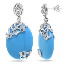0.63ct Diamond & 27.98ct Composite Turquoise 14k White Gold Earrings