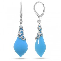 0.25ct Diamond & 11.08ct Composite Turquoise 14k White Gold Earrings