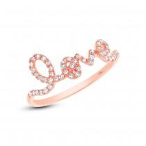 0.28ct 14k Rose Gold Diamond ''Love'' Ring Size 9