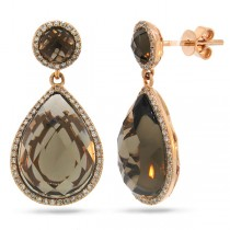 0.39ct Diamond & 12.21ct Smokey Topaz 14k Rose Gold Earrings