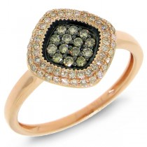 0.38ct 14k Rose Gold White & Champagne Diamond Lady's Ring