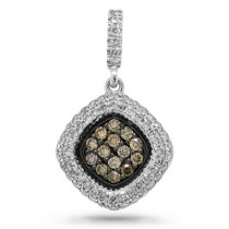 0.40ct 14k White Gold White & Champagne Diamond Pendant Necklace