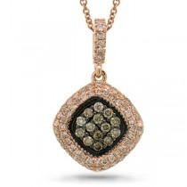 0.40ct 14k Rose Gold White & Champagne Diamond Pendant Necklace