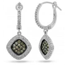 0.85ct 14k White Gold White & Champagne Diamond Earrings