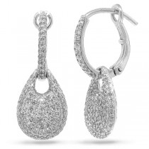 0.79ct 14k White Gold Diamond Pave Earrings