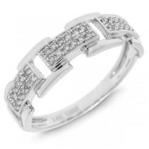 0.18ct 14k White Gold Diamond Link Ring
