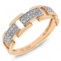 0.18ct 14k Rose Gold Diamond Link Ring