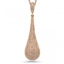 1.08ct 14k Rose Gold Diamond Pave Pendant Necklace