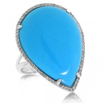 0.22ct Diamond & 14.68ct Composite Turquoise 14k White Gold Ring