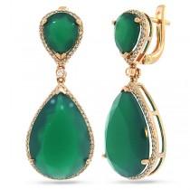 0.55ct Diamond & 25.66ct Green Agate 14k Rose Gold Earrings