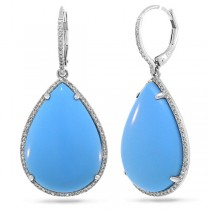 0.46ct Diamond & 27.04ct Composite Turquoise 14k White Gold Earrings