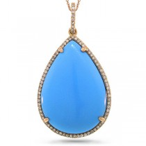 0.23ct Diamond & 17.16ct Composite Turquoise 14k Rose Gold Pendant Necklace