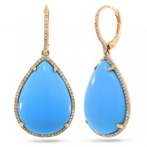 0.46ct Diamond & 27.04ct Composite Turquoise 14k Rose Gold Earrings