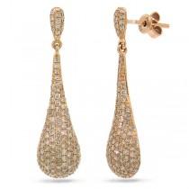 1.51ct 14k Rose Gold Diamond Pave Earrings