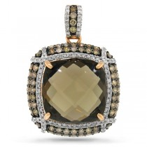 1.70ct White & Champagne Diamond & 13.42ct Smokey Topaz 14k Rose Gold Pendant Necklace